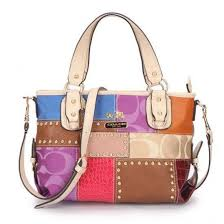 Coach Holiday Matching Stud Medium Ivory Multi Totes EBT