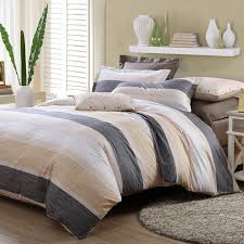 charcoal gray cream and white rugby stripe shabby chic 100 cotton full queen size boys bedroom bedding sets