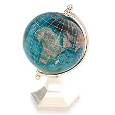 gemstone globe with opalite ocean and contempo stand