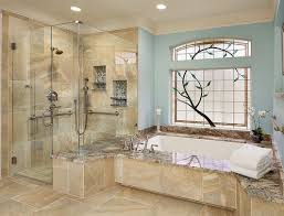 built in bathtub and glass door shower area also frosted glass window in bathroom heated floors
