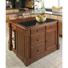 Granite Topped Kitchen Island Home Styles Aspen Rustic Cherry Kitchen Island With Granite Top
