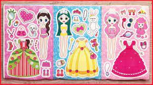 Dán hình búp bê công chúa thay quần áo và đeo giày - Sticker doll so cute  (Chim Xinh) - YouTube