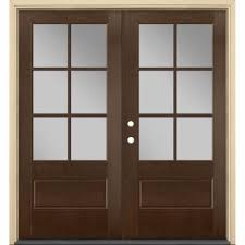 medium brown wood double door front