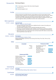 Security Guard Resume Examples Resume Examples By Real People Security Guard Resume