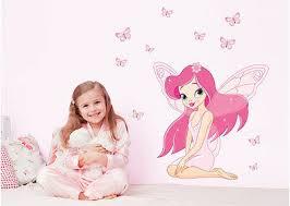 Pink Butterfly Girl <b>Wall Art Sticker</b> Vinyl Decal Nursery Princess Girls ...