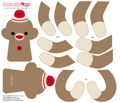 Sock Monkey Pattern Cool Sock Monkey Cut And Sewing Pattern Fabric Fantastictoys Spoonflower