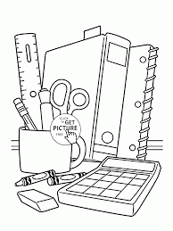 Small Picture School Supplies coloring page for children back to school
