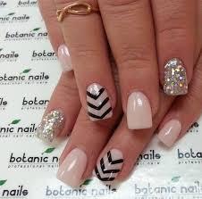 pink glitter pearl black nails