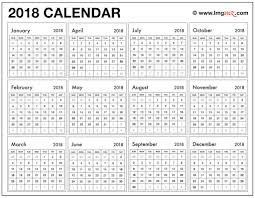 2018 Yearly Calendar Tempss Co Lab Co