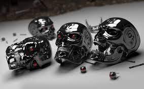 Robot Skulls 3D Wallpaper