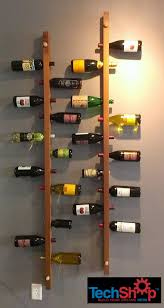 picture of wall mounted vertical wood wine rack