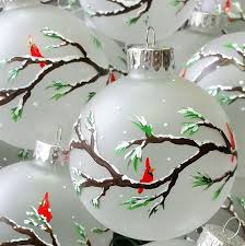 ornament cardinals on branches snowing hand painted on frosted glass