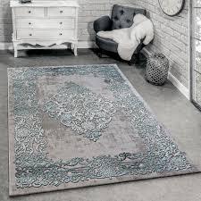 Designer Teppich 3 D Effekt Barock Stil Türkis Teppichde
