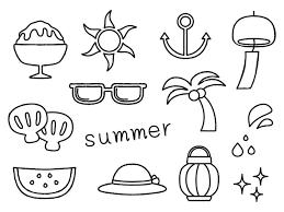 夏イラスト線画 無料イラスト素材素材ラボ