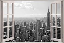 New York City Wallpaper For Bedroom Huge 3d Window New York City View Wall Stickers Mural Film Art