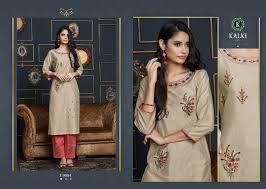 Designer Kurtis Surat Gujarat Kalki Fashion Tripling Catalogue Pure Cotton Chanderi Work