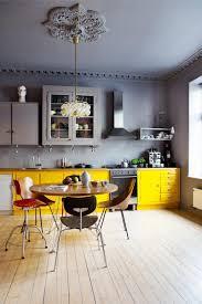 Yellow Kitchen Backsplash Gray Yellow Ceramic Tile Backsplash Natural Wooden Countertop
