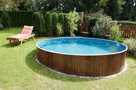 circular above ground swimming pool for backyard landscape ideas affordable above ground swimming pools o83