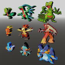 Starter Pokemon 3 Gen Voxel Sprite 3D-Modell in Monster und Kreaturen  3DExport