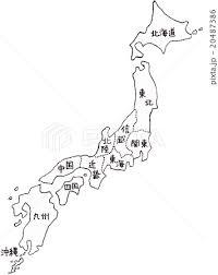 手書きの日本地図イメージモノクロ地面あり地区表示のイラスト素材