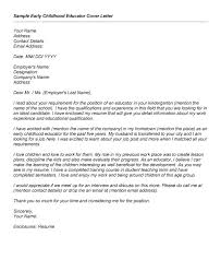 Cover Letter Early Childhood Teacher Early Childhood Educator Cover