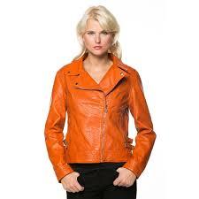 high secret women s orange zip up faux leather moto jacket orange polyester viscose motorcycle jacket