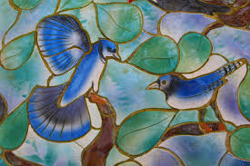 window glass decoration blue colorful material stained glass painting birds art ilration design decorative mosaic arts