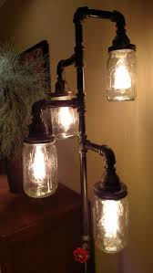 Steampunkindustrial Floor Lamp With Pipes And Mason Jars Cinema