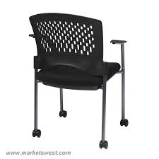 Plastic Furniture Wrap Pro Line Ii Titanium Finish Rolling Black Visitors Chair With