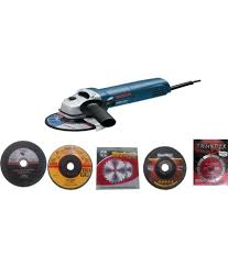 angle grinder machine. bosch gws 6-100 professional 670 watts angle grinder(mini) with 5 pcs grinder machine