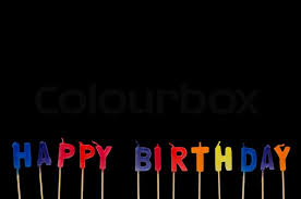 Happy Birthday Isolated On The Black Stock Photo Colourbox