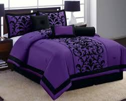 14 pc purple black luxury flocking comforter curtain set full size new