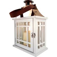 lucy white wooden lantern with rose gold top small