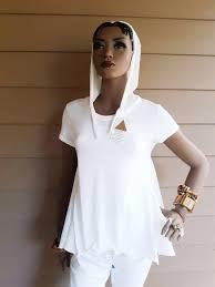 Devita Designs Devita Designs Handmade Hoodie White Tunic Top Organic Cotton Pique