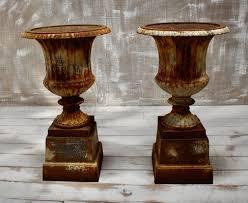 victorian cast iron garden urns set of