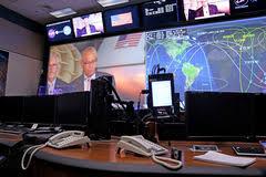 Контрольный центр управления полетом международной космической  Контрольный центр управления полетом Ориона Стоковые Изображения
