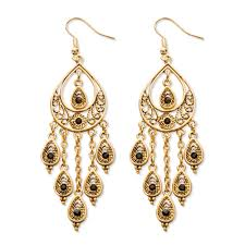 black crystal teardrop and chain chandelier earrings in yellow gold tone at palmbeach jewelry