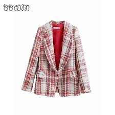 2019 Fashion Za Vintage <b>Chic</b> Jewelry button <b>Tweed</b> Jacket Elegant ...