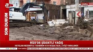 Rize'de heyelan ve sel bölgesinden canlı yayınla dehşete düşüren son dakika  görüntüleri | Video videosunu izle