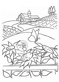 Summer And Sunflowers Coloring Page For Kids Flower Coloring Pages