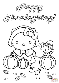 Small Picture Hello Kitty Happy Thanksgiving coloring page Free Printable