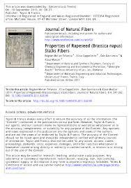 Pdf Properties Of Rapeseed Brassica Napus Stalks Fibers