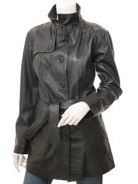 womens leather trench coat in black campbell front