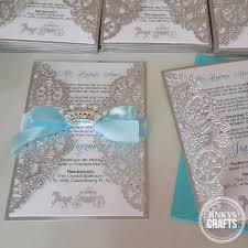 Quincenera Invitations Blue Silver Royal Lace Quinceanera Invitation