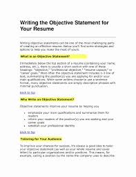Resume Objectives Statements Examples Best Of Objective Statement Resume New Career Change Resume Objective