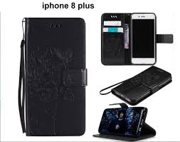 iphone 8 plus leather wallet case embossed cat tree pattern blk trade me