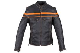 men s leather jacket with orange stripes