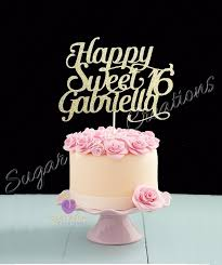 Any Name Glitter Happy Sweet 16 Birthday Cake Topper Sweet Etsy