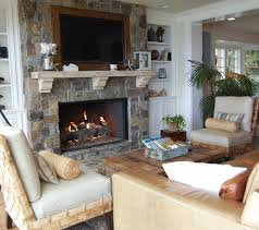 armchairs cedar fireplace mantels beach style orange county with white display and wall shelves
