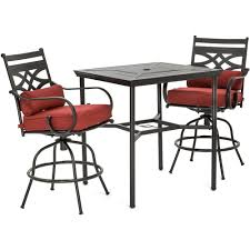hanover montclair 3 piece metal outdoor bar height dining set with chili red cushions